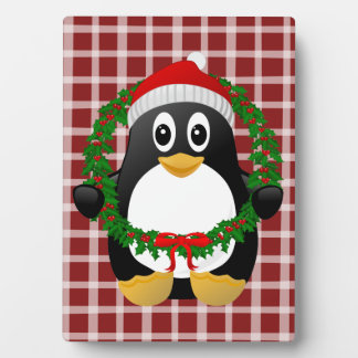 Cute Cartoon Penguin with Holly Wreath Display Plaques