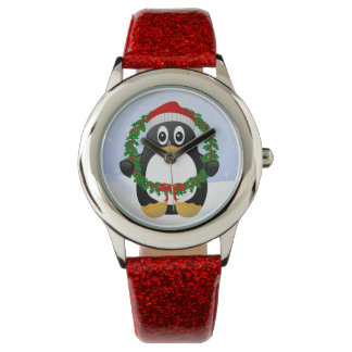 Cute Cartoon Penguin with Holly Wreath Wrist Watches