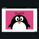 "cute cartoon penguin with pink background decals for 15&quot; laptops<br><div class=""desc"">A simple,  yet mod drawing of a penguin. If you need to make changes to the artwork,  click on the customize it button to move things around.</div>"