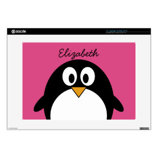 "cute cartoon penguin with pink background decals for 15"" laptops"