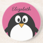 cute cartoon penguin with pink background drink coaster