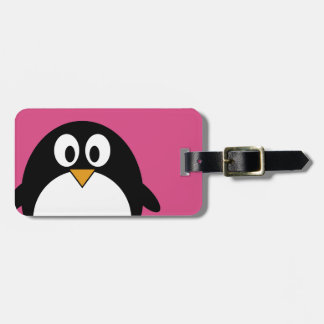 cute cartoon penguin with pink background travel bag tag