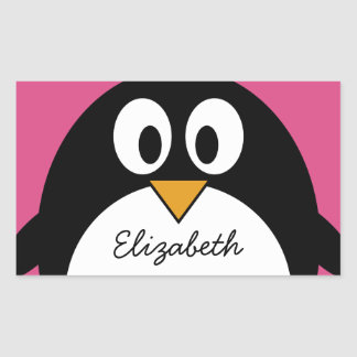 cute cartoon penguin with pink background rectangular sticker