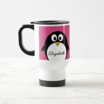 cute cartoon penguin with pink background travel mug