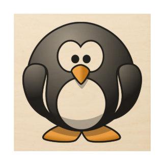 Cute Cartoon Penguin Wood Canvases