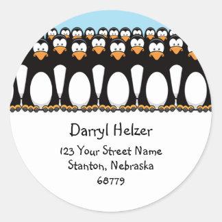 Cute Cartoon Penguins Fun Address Labels Classic Round Sticker
