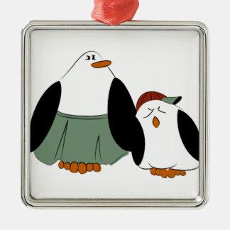 Cute Cartoon Penguins Metal Ornament