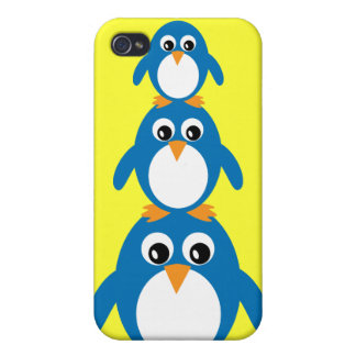 Cute Cartoon Penguins Yellow Customizable Covers For iPhone 4
