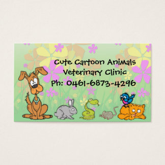 Cute Cartoon Pets Veterinary Business Card