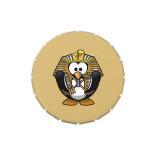 Cute Cartoon Pharoah Penguin with Gold Background Jelly Belly Tins