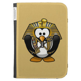 Cute Cartoon Pharoah Penguin with Gold Background Kindle Folio Cases