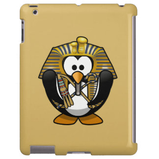 Cute Cartoon Pharoah Penguin with Gold Background