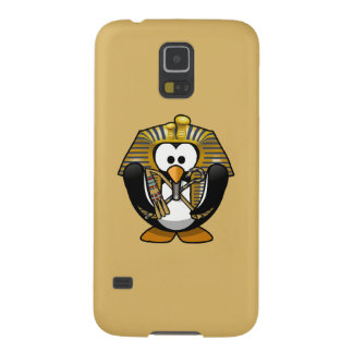Cute Cartoon Pharoah Penguin with Gold Background Galaxy S5 Case