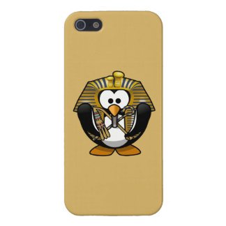 Cute Cartoon Pharoah Penguin with Gold Background iPhone 5 Covers