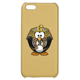 Cute Cartoon Pharoah Penguin with Gold Background Cover For iPhone 5C
