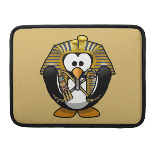 Cute Cartoon Pharoah Penguin with Gold Background Sleeves For MacBook Pro