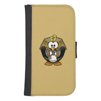 Cute Cartoon Pharoah Penguin with Gold Background Phone Wallet Cases