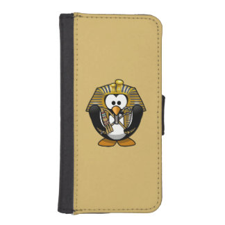Cute Cartoon Pharoah Penguin with Gold Background Phone Wallets