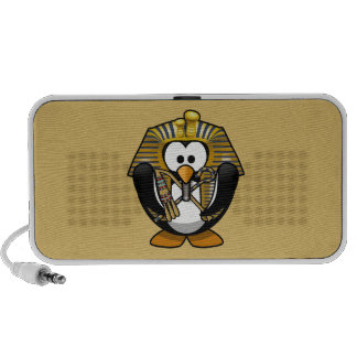 Cute Cartoon Pharoah Penguin with Gold Background Mp3 Speakers