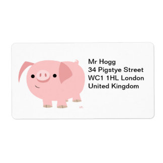 Cute Cartoon Pig Avery Shipping Label