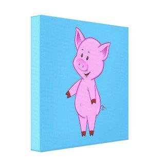 Cute Cartoon Pig Canvas Print