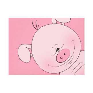Cute Cartoon Pig Canvas Print