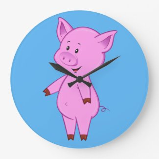 Cute Cartoon Pig Clock
