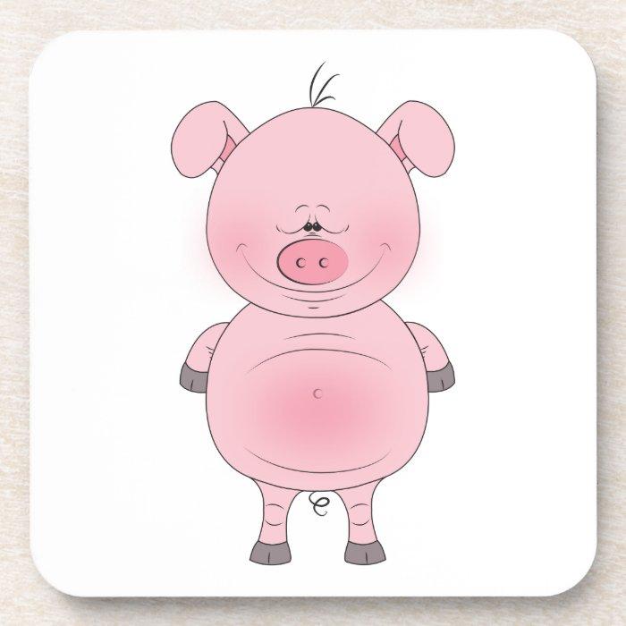 Cute Cartoon Pig Coaster Zazzle