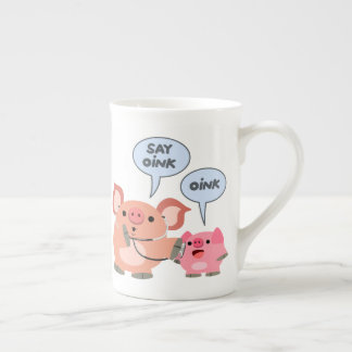 Cute Cartoon Pig Doctor and Patient Tea Cup