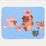 Cute Cartoon Pig Family Baby Blanket