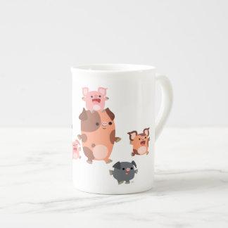 Cute Cartoon Pig Family Bone China Mug
