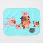 Cute Cartoon Pig Family Burp Cloth