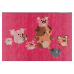 Cute Cartoon Pig Family Cutting Board