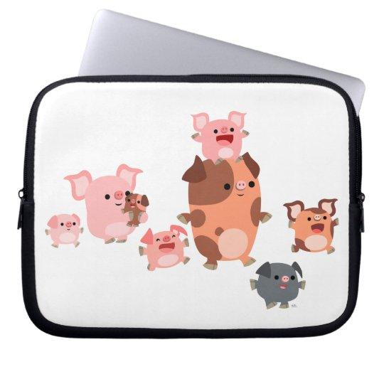 Cute Cartoon Pig Family Laptop Sleeve