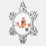 Cute Cartoon Pig Family Metal Ornament