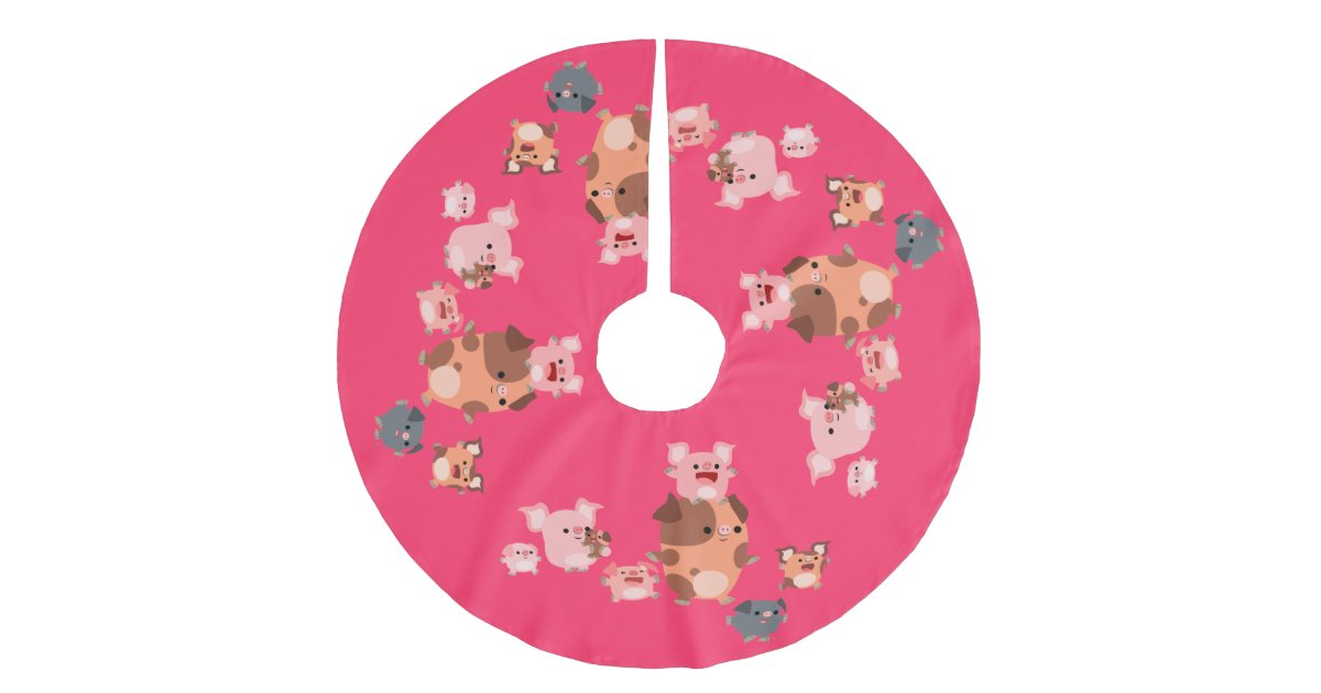 Cute cartoon pig family tree skirt zazzle