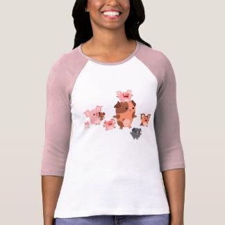 Cute Cartoon Pig Family Women T-Shirt