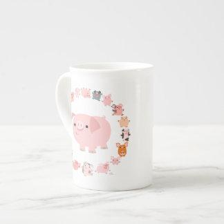 Cute Cartoon Pig Mandala Bone China Mug