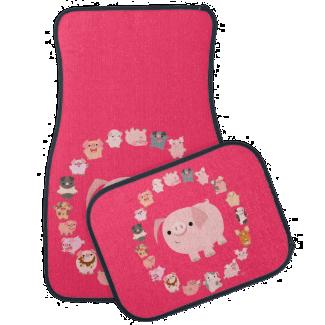 Cute Cartoon Pig Mandala Car Mats Floor Mat