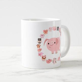 Cute Cartoon Pig Mandala Jumbo Mug