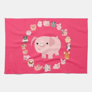 Cute Cartoon Pig Mandala Kitchen Towel