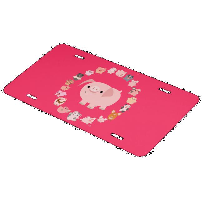 Cute Cartoon Pig Mandala License Plate Cover License Plate