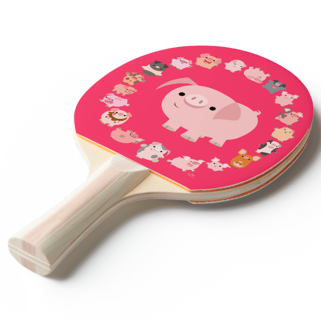 Cute Cartoon Pig Mandala Ping Pong Paddle Ping Pong Paddle