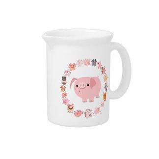 Cute Cartoon Pig Mandala Pitcher