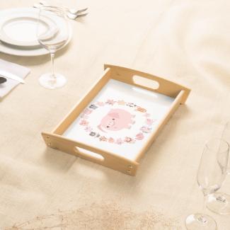 Cute Cartoon Pig Mandala Serving Tray Food Tray