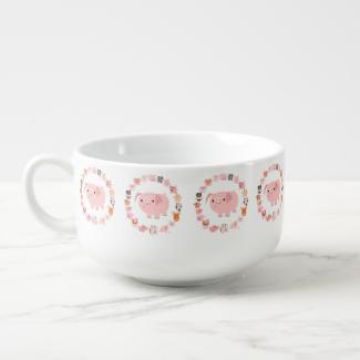 Cute Cartoon Pig Mandala Soup Mug Soup Bowl With Handle
