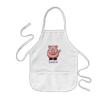 Cute cartoon pig personalized with childs name kids' apron