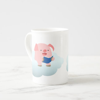 Cute Cartoon Pig Reader on Cloud Bone China Mug