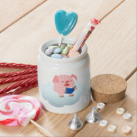 Cute Cartoon Pig Reader on Cloud Candy Jar