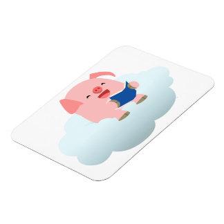 Cute Cartoon Pig Reader on Cloud Flexible Magnet